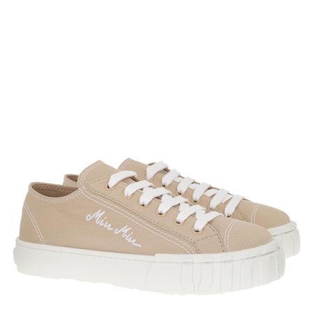 Miu Miu  Sneakers  -  Gabardine Sneakers White Sail  - in beige  -  Sneakers für Damen braun