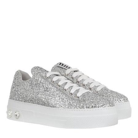 Miu Miu  Sneakers  -  Glitter Sneakers Silver  - in silber  -  Sneakers für Damen grau