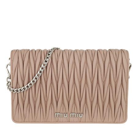 Miu Miu  Tasche  -  Borsa Portafoglio Matelassé Crossbody Leather Cammeo  - in beige  -  Tasche für Damen braun