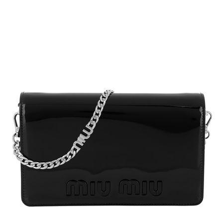 Miu Miu  Tasche  -  Logo Shoulder Bag Patent Leather Black  - in schwarz  -  Tasche für Damen schwarz