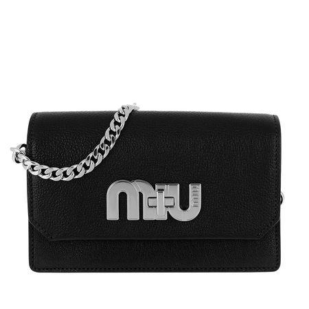 Miu Miu  Tasche  -  Madras Crossbody Bag Leather Black  - in schwarz  -  Tasche für Damen schwarz