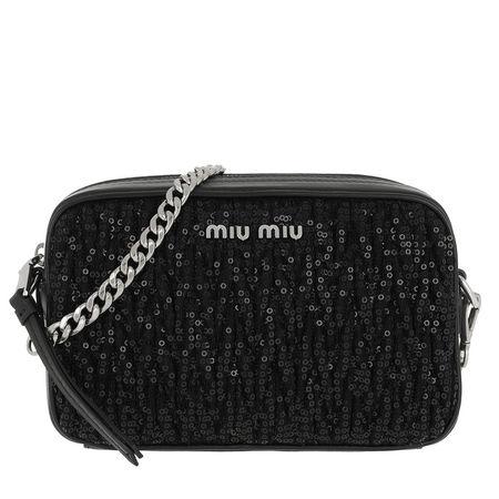 Miu Miu  Tasche  -  Matelassé Shoulder Bag Sequind And Leather Black  - in schwarz  -  Tasche für Damen schwarz