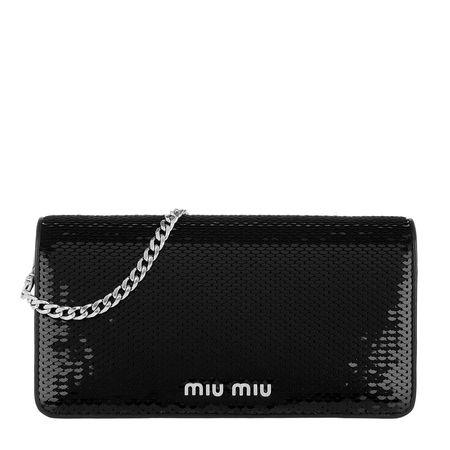 Miu Miu  Tasche  -  Sequins Logo Wallet Black  - in schwarz  -  Tasche für Damen schwarz