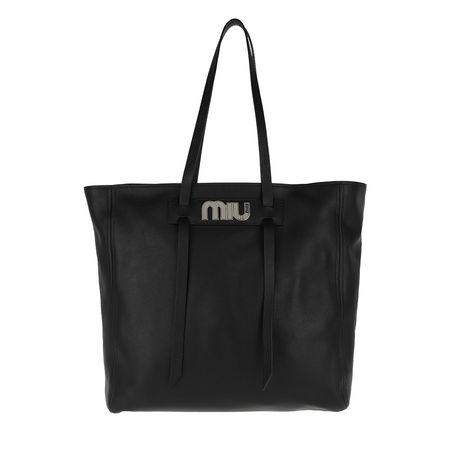 Miu Miu  Tote  -  Logo Plaque Shopper Tote Leather Black  - in schwarz  -  Tote für Damen schwarz