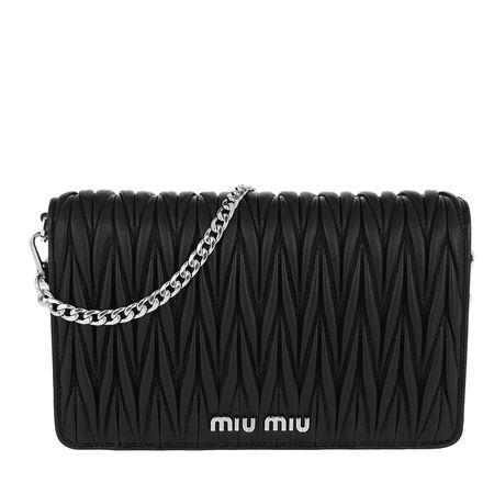Miu Miu  Umhängetasche  -  Borsa Portafoglio Matelassé Crossbody Leather Black  - in schwarz  -  Umhängetasche für Damen schwarz