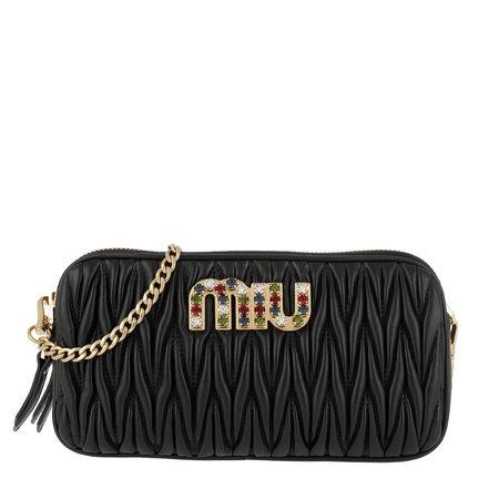 Miu Miu  Umhängetasche  -  Matelassé Glitter Logo Clutch Black 1  - in schwarz  -  Umhängetasche für Damen schwarz