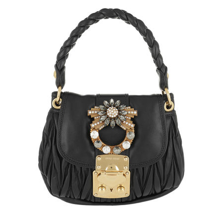 Miu Miu  Umhängetasche  -  Matelassé Shoulder Bag Jeweled Buckle Leather Black  - in schwarz  -  Umhängetasche für Damen grau