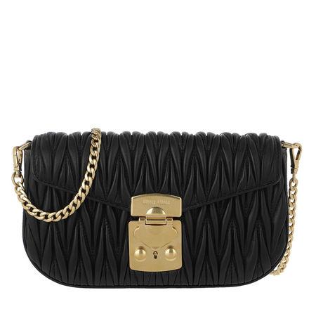 Miu Miu  Umhängetasche  -  Shoulder Bag Leather Black  - in schwarz  -  Umhängetasche für Damen schwarz
