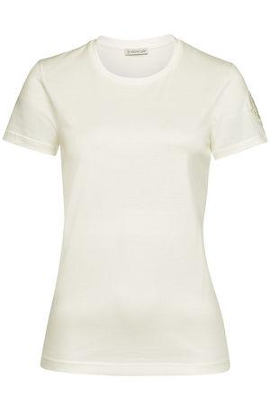 Moncler  Besticktes T-Shirt aus Baumwolle braun