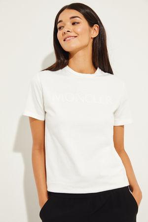 Moncler  - T-Shirt mit frontalen Perlen-Details Weiß 100% Baumwolle Made in Italy