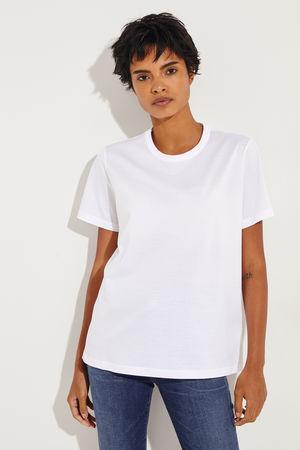 Moncler  - T-Shirt mit Logo Patch Weiß 100% Baumwolle