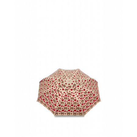 MOSCHINO  Regenschirm Mini Openclose Bear Hearts Damen Gr. Einheitsgröße Beige braun