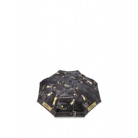 MOSCHINO  Regenschirm Openclose Biker Piercing Damen Gr. Einheitsgröße Schwarz grau