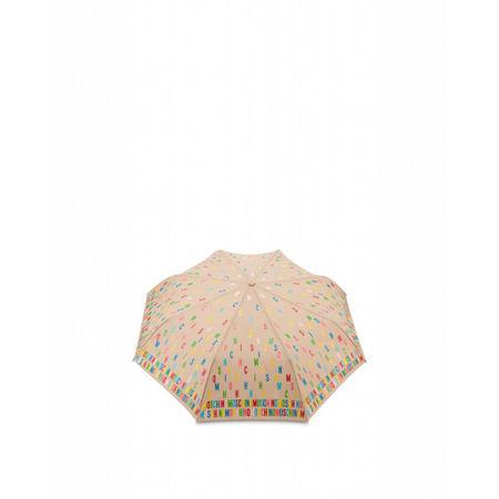 MOSCHINO  Regenschirm Openclose Multicolor Lettering Damen Gr. Einheitsgröße Beige braun