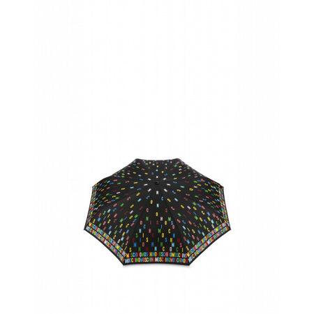 MOSCHINO  Regenschirm Openclose Multicolor Lettering Damen Gr. Einheitsgröße Schwarz grau