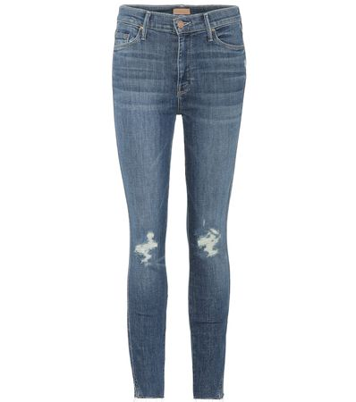 Mother Cropped Jeans Vamp Fray grau