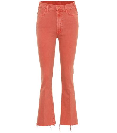 Mother High-Rise Flared Jeans Hustler rot