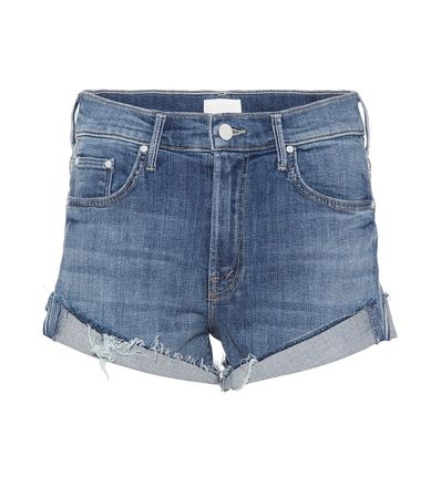 Mother Jeansshorts Rascal aus Baumwolle grau