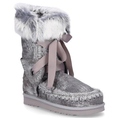 Mou Boots MOU Snowboots LACE  Kaninchenfell Veloursleder Fellschaft silber grau