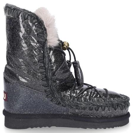 Mou Boots Snowboots ESKIMO DREAM CATCHER Glitter Lackleder Glitzer Zierschnürung schwarz-kombi grau