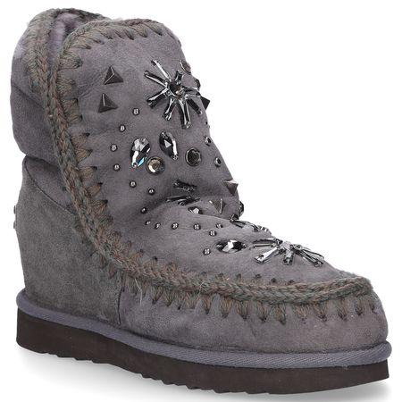 Mou Boots Snowboots NEW STONES  Veloursleder Strass grau grau