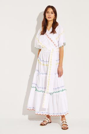 Tory Burch  - Langes Wickelkleid mit Stickerei Weiß/Multi 100% Baumwolle