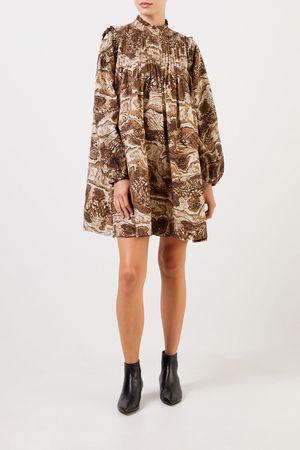 Ganni  - Kurzes Kleid mit Print Beige/Multi 100% Baumwolle