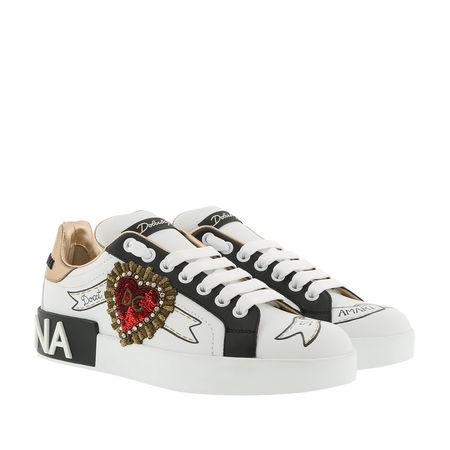 Dolce&Gabbana  Sneakers  -  Portofino Sneakers Designer Patches Leather White/Multi  - in weiß  -  Sneakers für Damen grau