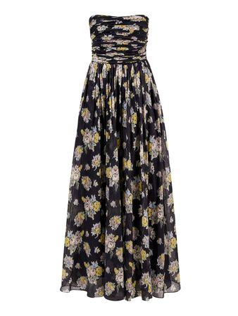 Brock Collection  - Bustierkleid in Maxilänge mit floralem Print Blau/Multi schwarz