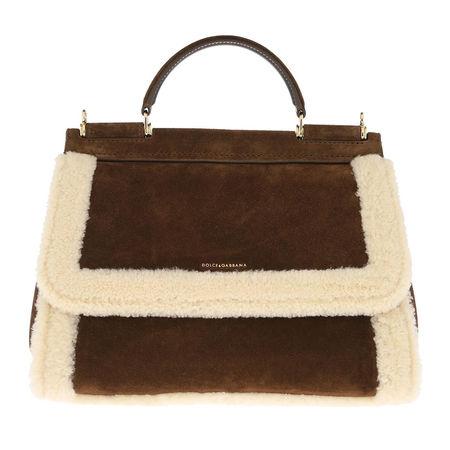 Dolce&Gabbana  Satchel Bag  -  Large Sicily Bag Shearling Nocciola/Naturale  - in braun  -  Satchel Bag für Damen braun