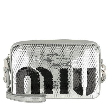 Miu Miu  Umhängetasche  -  Sequin Logo Crossbody Bag Argento/Nero  - in silber  -  Umhängetasche für Damen grau