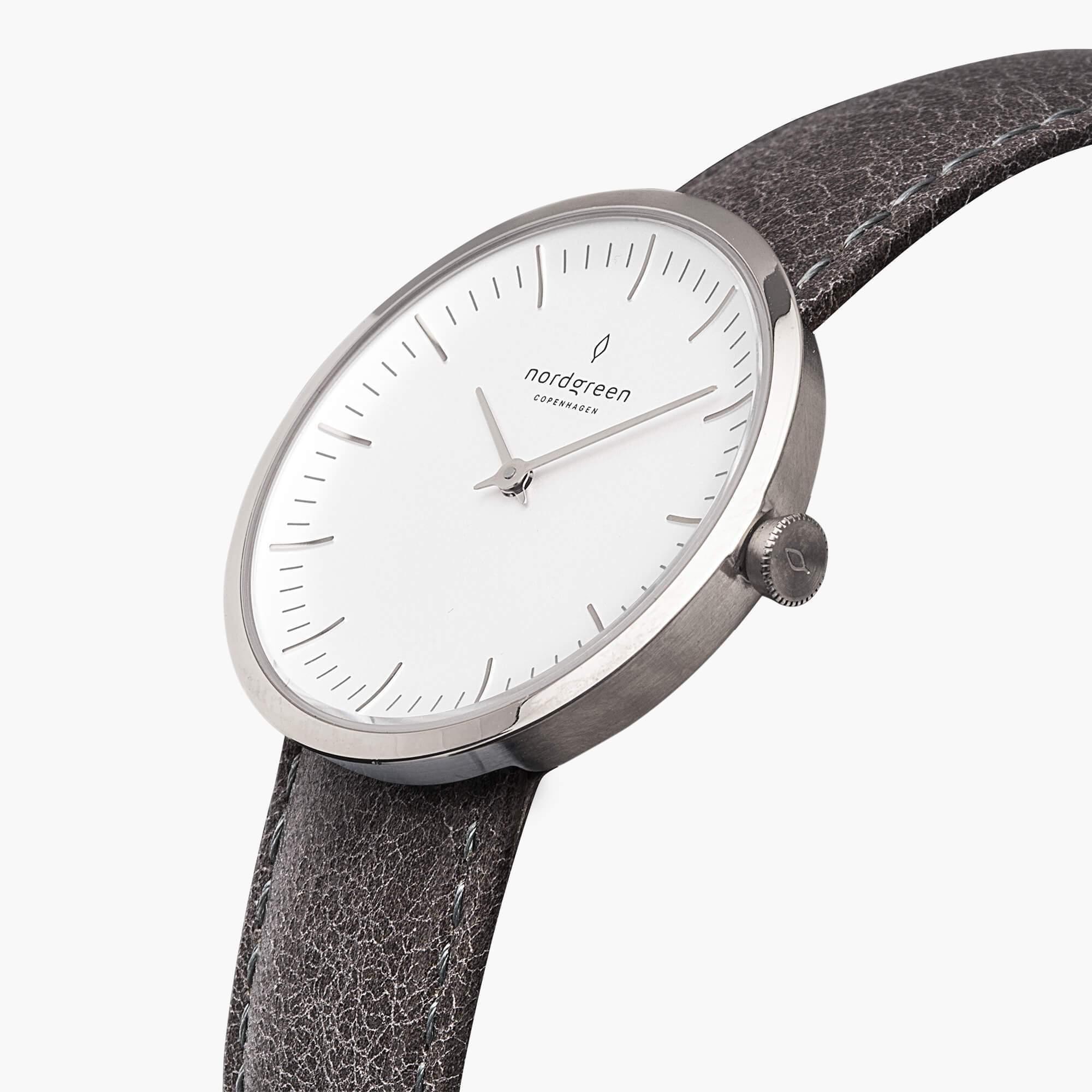 Nordgreen  -  Infinity - Silber   Leder Raues Grau weiss