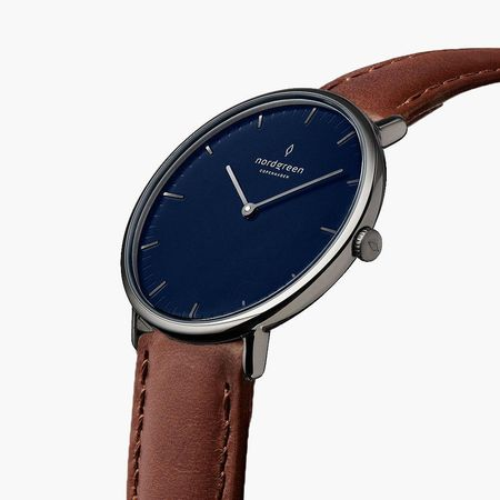 Nordgreen Native - Blaues Ziffernblatt - Anthrazit | 32mm Armband Leder Braun weiss