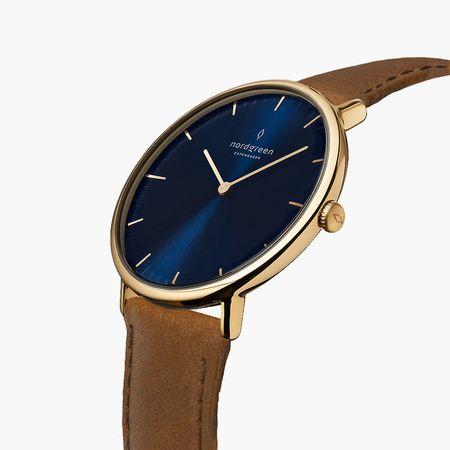 Nordgreen Native - Blaues Ziffernblatt  - Gold | 28mm Armband Veganes Leder Braun