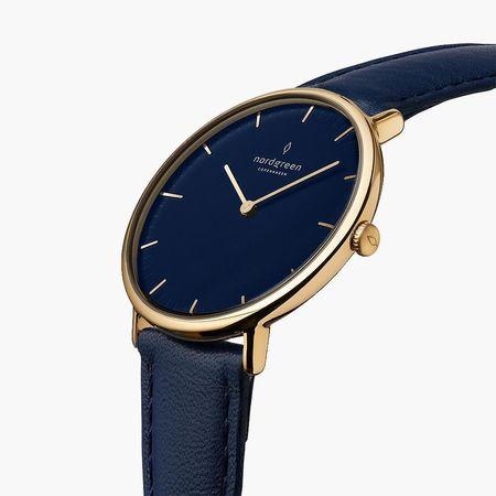 Nordgreen Native - Blaues Ziffernblatt - Gold | 36mm Armband Leder Navy Blau weiss