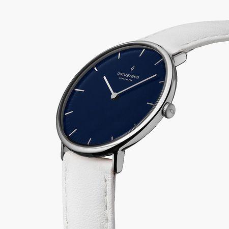 Nordgreen Native - Blaues Ziffernblatt - Silber   32mm Armband Leder Weiß weiss
