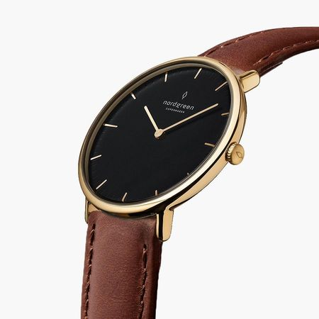 Nordgreen Native - Schwarzes Ziffernblatt - Gold   36mm Armband Leder Braun weiss