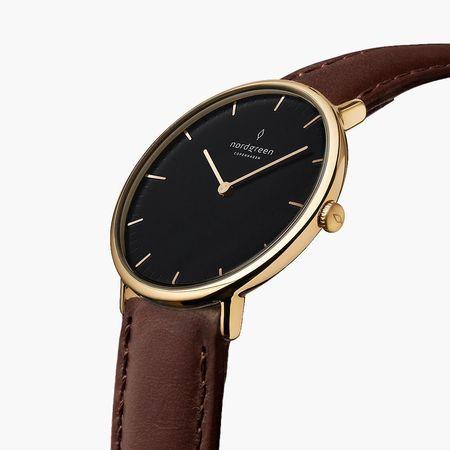 Nordgreen Native - Schwarzes Ziffernblatt - Gold | 36mm Armband Leder Dunkelbraun weiss
