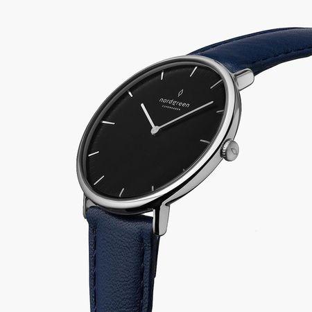 Nordgreen Native - Schwarzes Ziffernblatt - Silber | 36mm Armband Leder Navy Blau weiss
