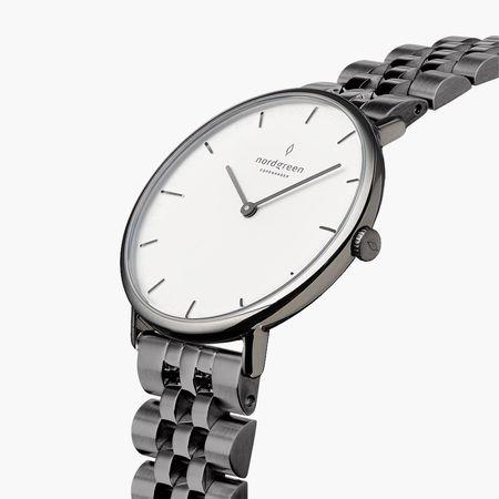 Nordgreen Native - Weißes Ziffernblatt - Anthrazit   28mm 5-Link Armband