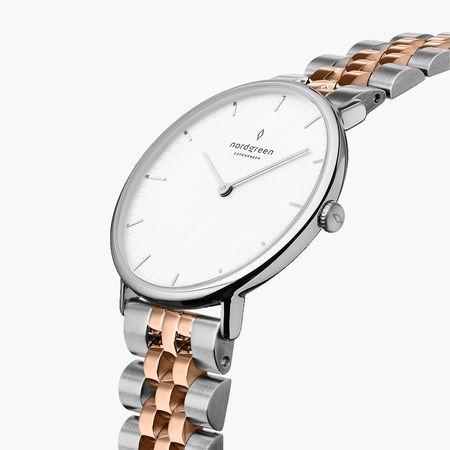 Nordgreen Native - Weißes Ziffernblatt - Silber | 28mm Silber-Roségold 5-Link Armband