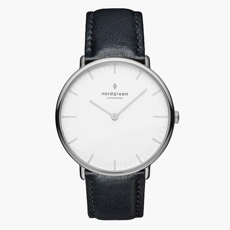 Nordgreen Native - Weißes Ziffernblatt - Silber   40mm Armband Leder Schwarz - Refurbished