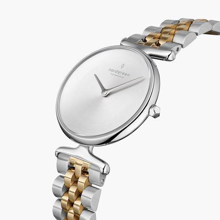Nordgreen Unika - Mattes Edelstahl Ziffernblatt - Silber   32mm Silber-Gold 5-Link Armband