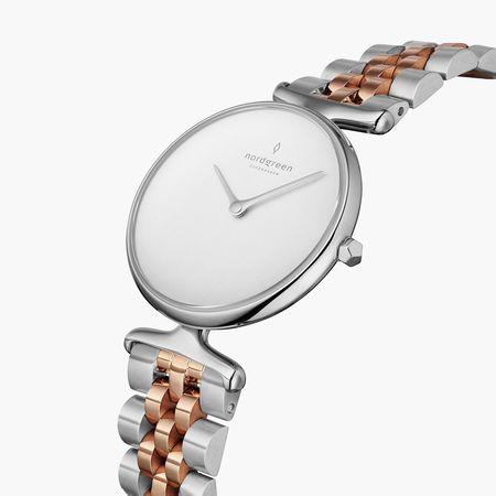 Nordgreen Unika - Weißes Ziffernblatt - Silber   32mm Silber-Roségold 5-Link Armband