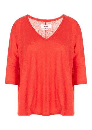 Not Shy Shirt aus Leinen in Rot rot