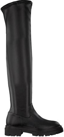 Notre-V -20%:  Overknees 01-6100 Schwarz Damen Damen Größe 37 Leder-Optik schwarz