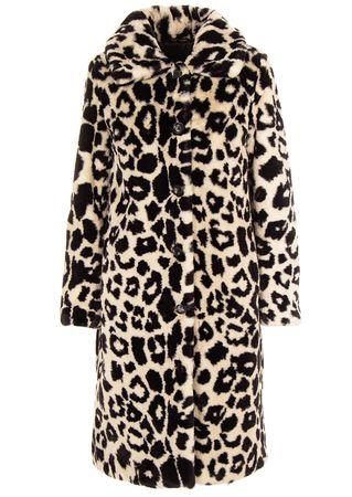 Oakwood Fake-Fur Mantel mit Leopardenmuster schwarz