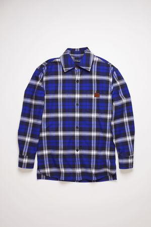 Acne Studios  FA-UX-SHIR000014 Electric blue/off white  Flannel overshirt grau