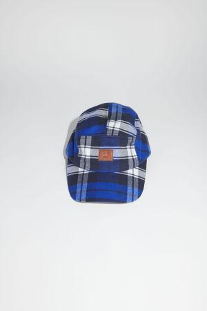 Acne Studios  FA-UX-HATS000070 Electric blue/off white Plaid baseball cap
