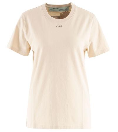 OFF-WHITE  - T-Shirt aus Baumwolle mit Print braun